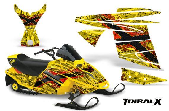 Ski Doo MiniZ CreatorX Graphics Kit TribalX Red Yellow 570x376 - Ski-Doo Mini Z Kids 2003-2008 Graphics
