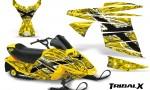 Ski Doo MiniZ CreatorX Graphics Kit TribalX White Yellow 150x90 - Ski-Doo Mini Z Kids 2003-2008 Graphics