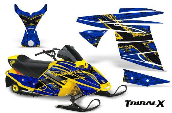 Ski Doo MiniZ CreatorX Graphics Kit TribalX Yellow Blue 570x376 - Ski-Doo Mini Z Kids 2003-2008 Graphics