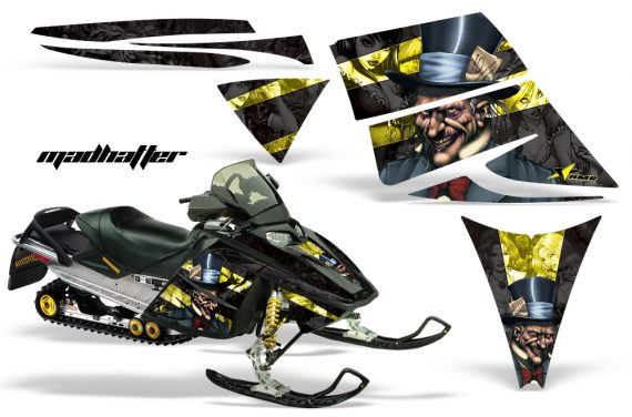 Ski Doo Rev AMR Graphics Kit MADHATTER Yellow 570x376 - Ski-Doo Rev Graphics