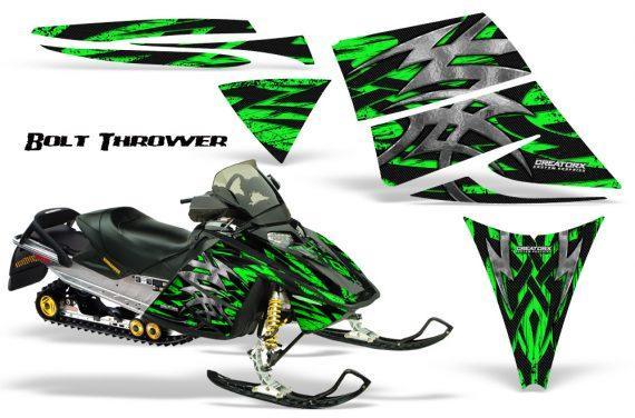 Ski Doo Rev CreatorX Graphics Kit Bolt Thrower Green 570x376 - Ski-Doo Rev Graphics