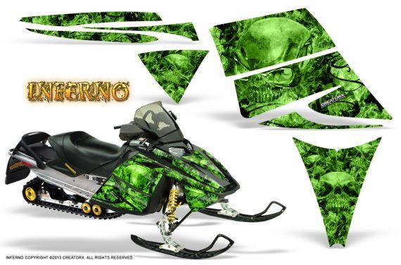 Ski Doo Rev CreatorX Graphics Kit Inferno Green 570x376 - Ski-Doo Rev Graphics