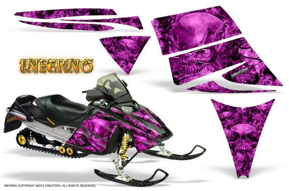 Ski Doo Rev CreatorX Graphics Kit Inferno Pink 570x376 - Ski-Doo Rev Graphics