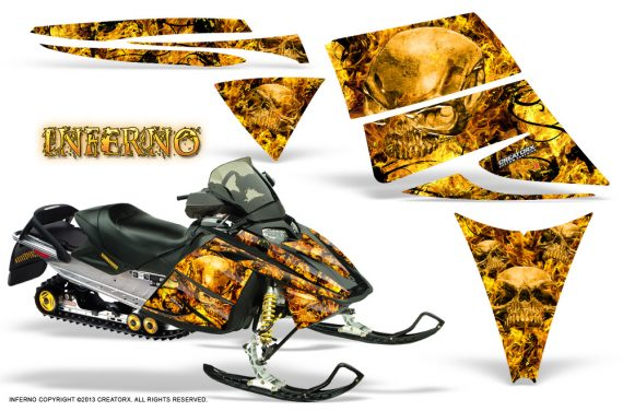 Ski Doo Rev CreatorX Graphics Kit Inferno Yellow 570x376 - Ski-Doo Rev Graphics