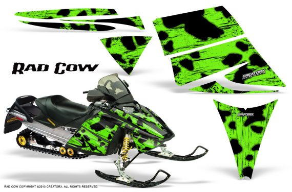 Ski Doo Rev CreatorX Graphics Kit Rad Cow Green 570x376 - Ski-Doo Rev Graphics