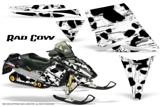 Ski Doo Rev CreatorX Graphics Kit Rad Cow White 570x376 - Ski-Doo Rev Graphics