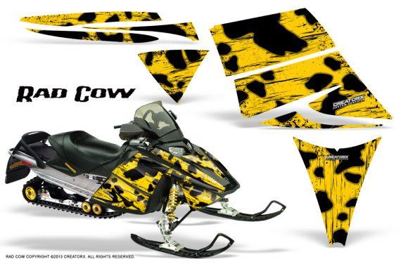 Ski Doo Rev CreatorX Graphics Kit Rad Cow Yellow 570x376 - Ski-Doo Rev Graphics