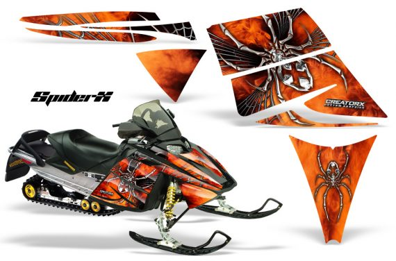 Ski Doo Rev CreatorX Graphics Kit SpiderX Orange 570x376 - Ski-Doo Rev Graphics