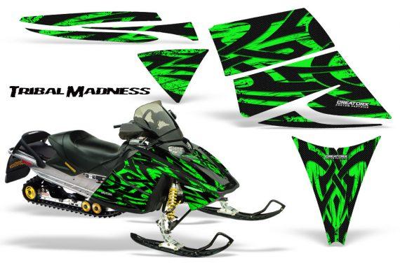 Ski Doo Rev CreatorX Graphics Kit Tribal Madness Green 570x376 - Ski-Doo Rev Graphics