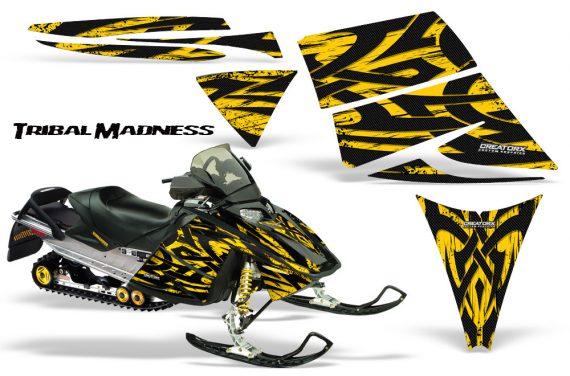 Ski Doo Rev CreatorX Graphics Kit Tribal Madness Yellow 570x376 - Ski-Doo Rev Graphics