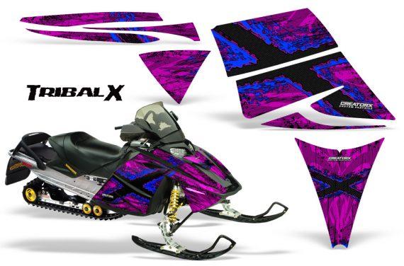 Ski Doo Rev CreatorX Graphics Kit TribalX Blue Pink 570x376 - Ski-Doo Rev Graphics