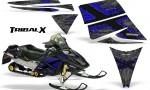 Ski Doo Rev CreatorX Graphics Kit TribalX Blue Silver 150x90 - Ski-Doo Rev Graphics