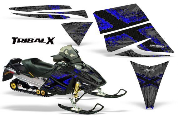 Ski Doo Rev CreatorX Graphics Kit TribalX Blue Silver 570x376 - Ski-Doo Rev Graphics