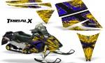 Ski Doo Rev CreatorX Graphics Kit TribalX Blue Yellow 150x90 - Ski-Doo Rev Graphics