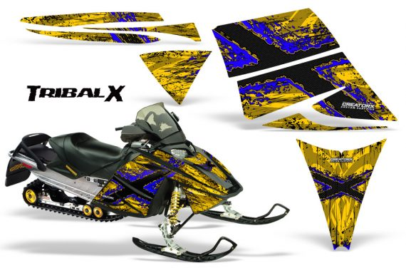 Ski Doo Rev CreatorX Graphics Kit TribalX Blue Yellow 570x376 - Ski-Doo Rev Graphics