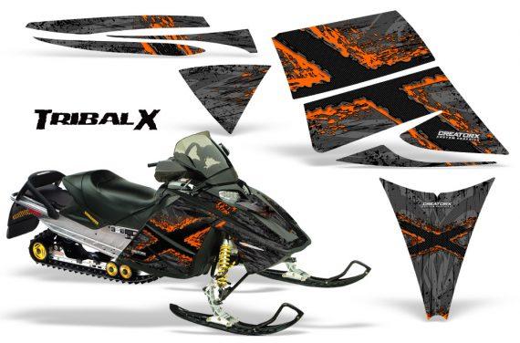 Ski Doo Rev CreatorX Graphics Kit TribalX Orange Silver 570x376 - Ski-Doo Rev Graphics