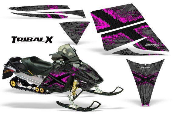 Ski Doo Rev CreatorX Graphics Kit TribalX Pink Silver 570x376 - Ski-Doo Rev Graphics