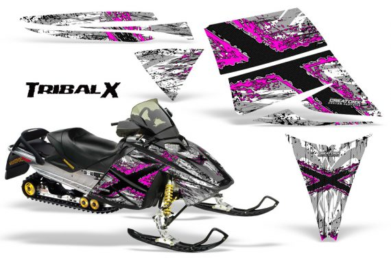Ski Doo Rev CreatorX Graphics Kit TribalX Pink White 570x376 - Ski-Doo Rev Graphics