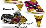 Ski Doo Rev CreatorX Graphics Kit TribalX Pink Yellow 150x90 - Ski-Doo Rev Graphics