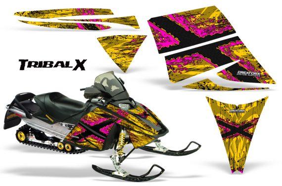 Ski Doo Rev CreatorX Graphics Kit TribalX Pink Yellow 570x376 - Ski-Doo Rev Graphics