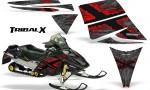 Ski Doo Rev CreatorX Graphics Kit TribalX Red Silver 150x90 - Ski-Doo Rev Graphics