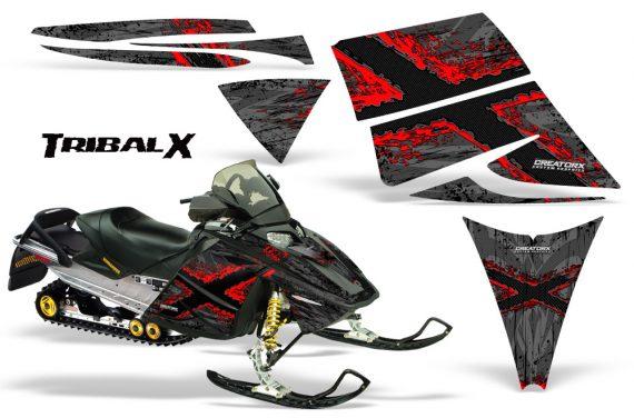 Ski Doo Rev CreatorX Graphics Kit TribalX Red Silver 570x376 - Ski-Doo Rev Graphics