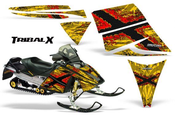 Ski Doo Rev CreatorX Graphics Kit TribalX Red Yellow 570x376 - Ski-Doo Rev Graphics