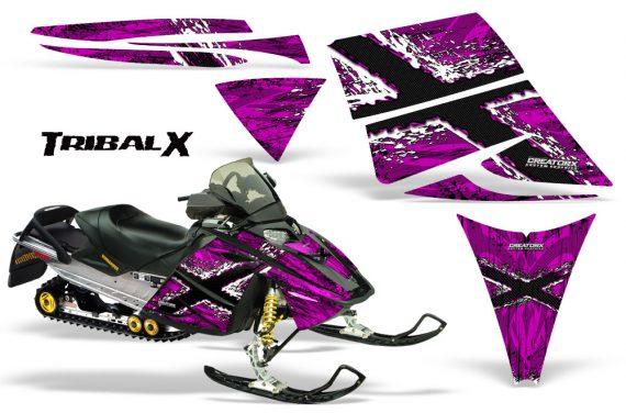 Ski Doo Rev CreatorX Graphics Kit TribalX White Pink 570x376 - Ski-Doo Rev Graphics