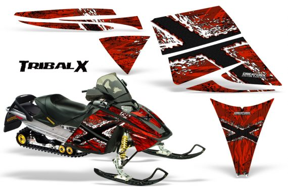 Ski Doo Rev CreatorX Graphics Kit TribalX White Red 570x376 - Ski-Doo Rev Graphics