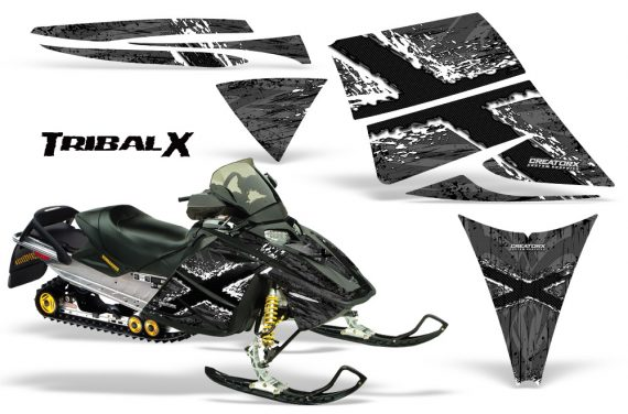 Ski Doo Rev CreatorX Graphics Kit TribalX White Silver 570x376 - Ski-Doo Rev Graphics