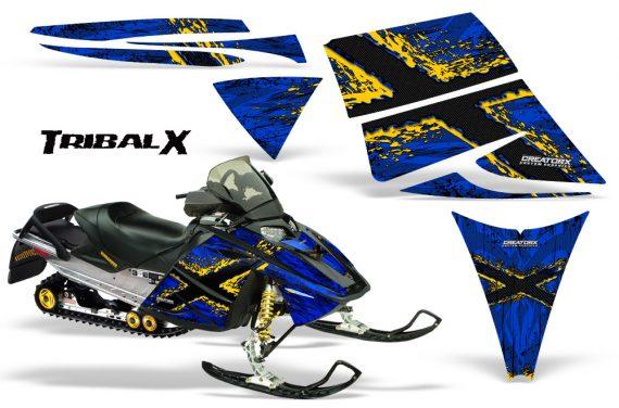 Ski Doo Rev CreatorX Graphics Kit TribalX Yellow Blue 570x376 - Ski-Doo Rev Graphics