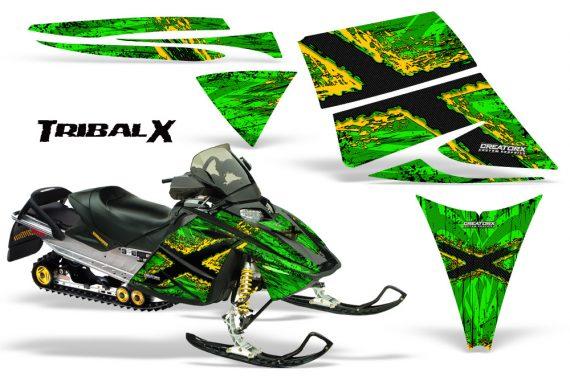 Ski Doo Rev CreatorX Graphics Kit TribalX Yellow Green 570x376 - Ski-Doo Rev Graphics