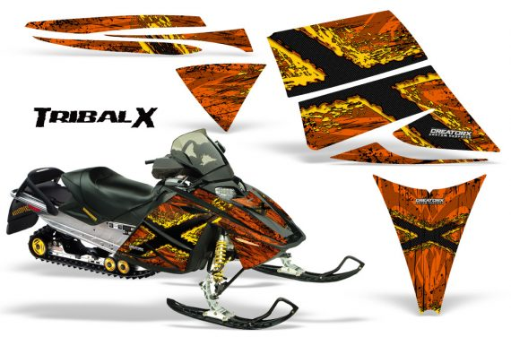 Ski Doo Rev CreatorX Graphics Kit TribalX Yellow Orange 570x376 - Ski-Doo Rev Graphics