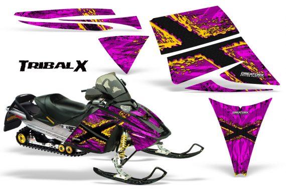Ski Doo Rev CreatorX Graphics Kit TribalX Yellow Pink 570x376 - Ski-Doo Rev Graphics