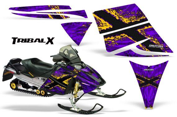 Ski Doo Rev CreatorX Graphics Kit TribalX Yellow Purple 570x376 - Ski-Doo Rev Graphics