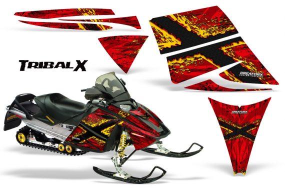 Ski Doo Rev CreatorX Graphics Kit TribalX Yellow Red 570x376 - Ski-Doo Rev Graphics