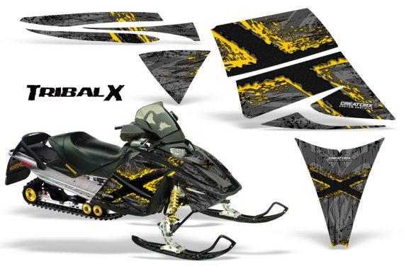 Ski Doo Rev CreatorX Graphics Kit TribalX Yellow Silver 570x376 - Ski-Doo Rev Graphics