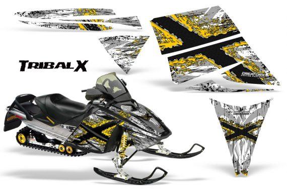 Ski Doo Rev CreatorX Graphics Kit TribalX Yellow White 570x376 - Ski-Doo Rev Graphics