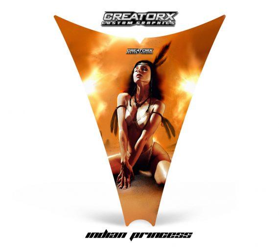 Ski Doo Rev Hood CreatorX Graphics Kit Indian Princess 570x513 - Ski-Doo Rev Hood Graphics
