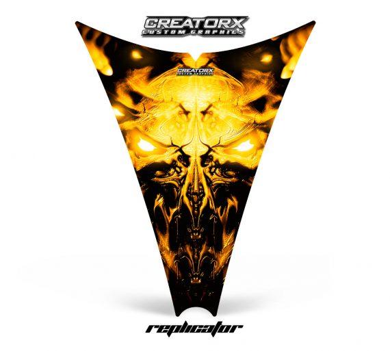 Ski Doo Rev Hood CreatorX Graphics Kit Replicator Yellow 570x513 - Ski-Doo Rev Hood Graphics