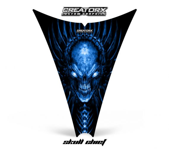 Ski Doo Rev Hood CreatorX Graphics Kit Skull Chief Blue 570x513 - Ski-Doo Rev Hood Graphics
