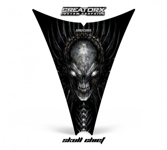Ski-Doo-Rev-Hood-CreatorX-Graphics-Kit-Skull-Chief-Silver