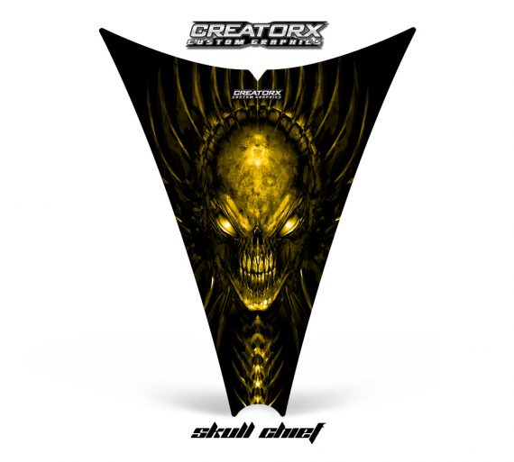 Ski Doo Rev Hood CreatorX Graphics Kit Skull Chief Yellow 570x513 - Ski-Doo Rev Hood Graphics