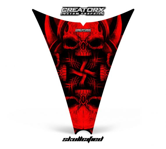 Ski Doo Rev Hood CreatorX Graphics Kit Skullcified Red 570x513 - Ski-Doo Rev Hood Graphics