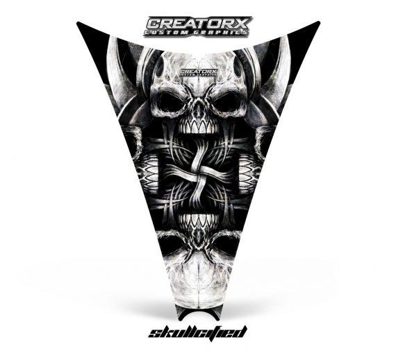 Ski Doo Rev Hood CreatorX Graphics Kit Skullcified Silver 570x513 - Ski-Doo Rev Hood Graphics