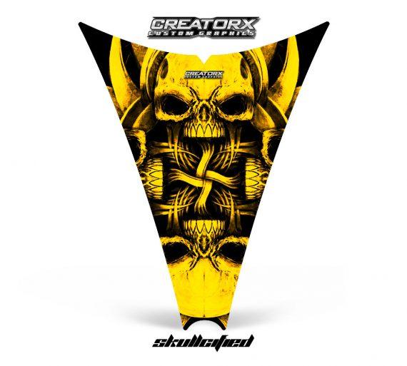 Ski Doo Rev Hood CreatorX Graphics Kit Skullcified Yellow 570x513 - Ski-Doo Rev Hood Graphics