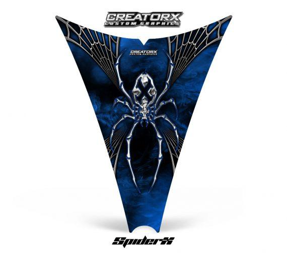 Ski Doo Rev Hood CreatorX Graphics Kit SpiderX Blue Web 570x513 - Ski-Doo Rev Hood Graphics