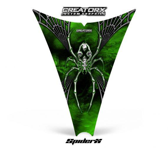 Ski Doo Rev Hood CreatorX Graphics Kit SpiderX Green Web 570x513 - Ski-Doo Rev Hood Graphics