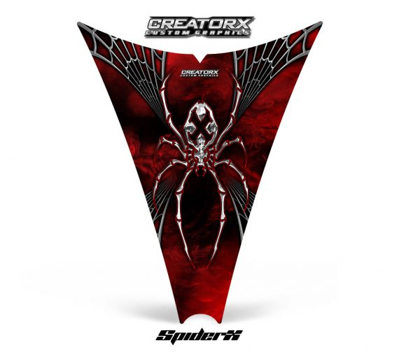 Ski Doo Rev Hood CreatorX Graphics Kit SpiderX Red Web 570x513 - Ski-Doo Rev Hood Graphics