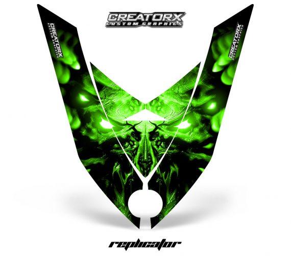 Ski Doo Rev XP Hood CreatorX Graphics Kit Alien Replicator Green 570x513 - Ski-Doo Rev XP Hood Graphics